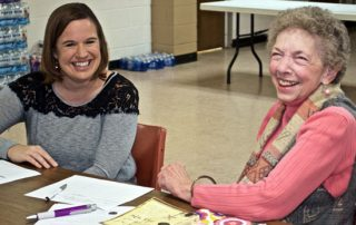 Tri-County Mental Health Services Older Adult Educator Becky Franklin (left) and Norma Gorsett of Excelsior Springs shared humor as well as insight during a recent meeting of Stronger Together, a new peer group for older adults that meets in Excelsior Springs.