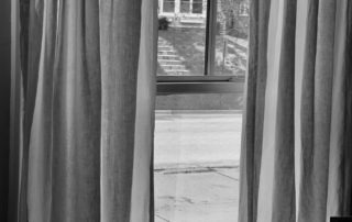 black and white looking out a window