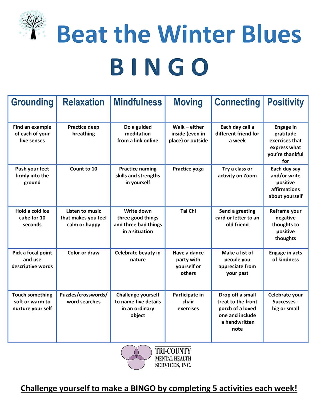 Winter blues bingo